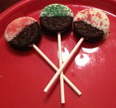 Christmas treats! Oreos on a stick.