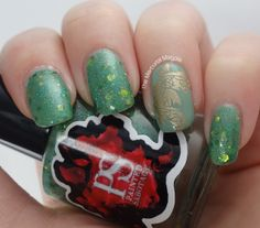 The Mercurial Magpie - Nail Art - Painted Sabotage Moonjelly & OPI Mermaid Tears with Koi Fish stamping using Messy Mansion MM21