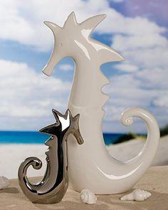 Tolle Skulptur Seepferd Casablanca Seepferdchen Keramik Bad Badezimmer Deko
