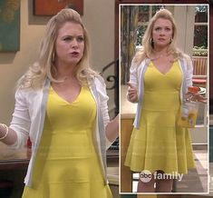 Melissa's yellow flared bandage dress on Melissa and Joey.  Outfit details: http://wornontv.net/18563/