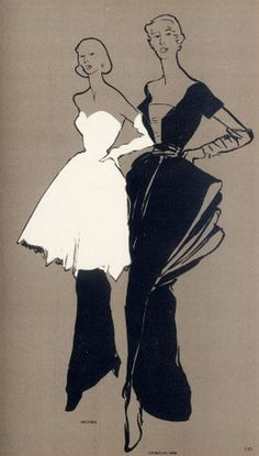 Read More About Fashion Illustrator René Gruau, Autumn 1948, Bruyère & Christian Dior, Album du Figaro, N°16, Paris....
