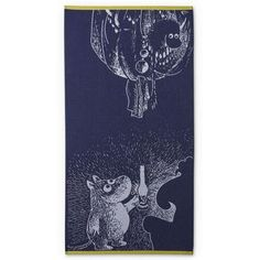 Moomin and the Ancestor bath towel 70 x 140 cm by Finlayson More Than Love, Tove Jansson, Dark Blue Color, Moomin, Bath Towels, New Product, Troll, First Love, My Favorite Things