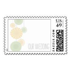 Mint Rosettes Wedding Postage Stamp