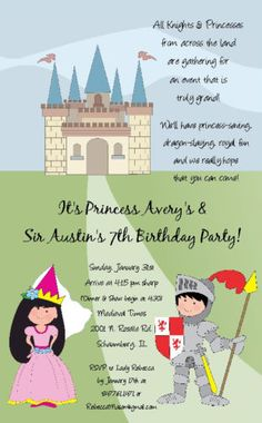 Knight Princess Invitation Girl Boy Birthday Party | eBay