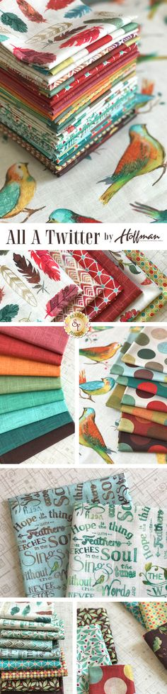 All A Twitter by Kari Carr is a colorful digitally printed collection filled with beautiful birds and charming coordinating prints from Hoffman Fabrics Fabrics available at Shabby Fabrics.