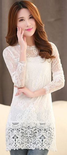 Long sleeve lace tunic blouse, asian tunic lace tops, chinese lace blouse…
