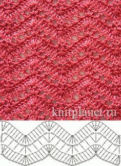 Open Lacy Ripple Stitch - Free Crochet Diagram - (knitplanet) by LuEllen Bateman Crochet Ripple, Crochet Diy, Crochet Motifs, Crochet Diagram, Crochet Stitches Patterns, Crochet Chart, Knitting Stitches, Stitch Patterns, Knitting Patterns
