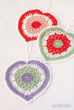 Crochet lace heart motifs
