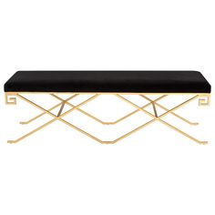 Sleek and luxurious, the Talita Bench in Black Velvet features an artful silhouette that appears to float on its airy base. Crafted of gold-leafed metal with Greek key detailing, it exudes grace, style and extravagant comfort. Upholstered Coffee Tables, Upholstered Bench, Black Velvet, Black Gold Bedroom, Traditional Home Magazine, Velvet Furniture, Black Furniture, White Wine Glasses, Bench Designs