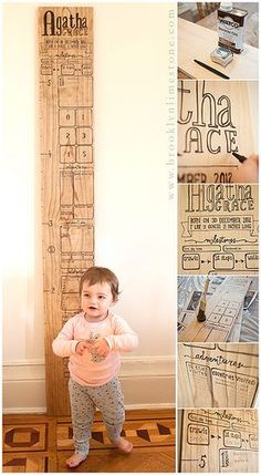 DIY Wooden Growth Chart by BrooklynLimestone. Made with a sharpie on a board! She has spaces to record first foods, places visited, special milestones, etc. Brilliant.