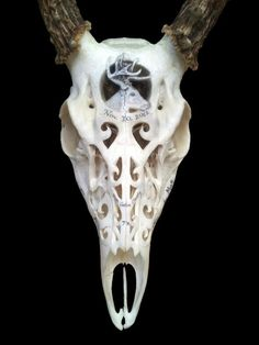 Carved deer skull