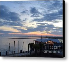 Limited Time Promotion: Sunset At American Fish Co       Safe Havens Ivans In Southport Nc Stretched Canvas Print