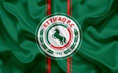 Download wallpapers Al-Ettifaq FC, 4K, Saudi Football Club, logo, emblem, Saudi Professional League, football, Ed Dammam, Saudi Arabia, silk texture