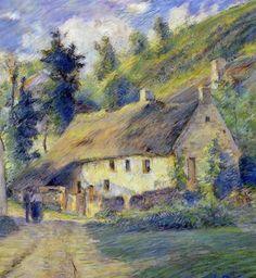 """Camille Pissarro (1830-1903) ~ """"Cottages à Auvers près de Pontoise"""", 1879 (Détail) ~ Pastel sur Papier"""