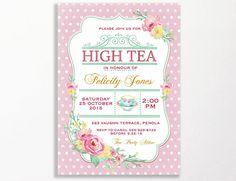 High Tea Invitation Printable for Bridal Shower Tea Or 30th
