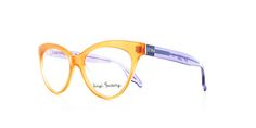 The Calvi in orange with purple temples by Vinyl Factory.
