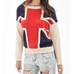 Forever 21 Union Jack Sweater Good condition. Pilling/wash wear on the red and blue parts. Super cute Forever 21 sweater. Big Union Jack flag pattern on the front. Blue and red are soft acrylic, mohair, wool and more blend knit. Cream marled knit sleeves and back. The cream part is textured like popcorn. Slits on the bottom of the sides. Size small. Forever 21 Sweaters Crew & Scoop Necks