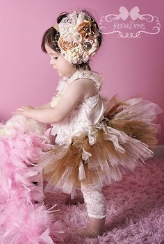 Golden Vintage Princess  OVER the TOP Headband Custom by KenaBows, $19.95