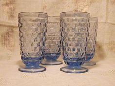 Indiana American Whitehall Glasses Iced Tea Light Blue Fostoria Mold 4 Tumblers #Indiana