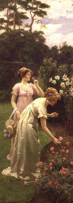 Charles Haigh Wood ~ Two ladies picking flowers