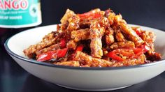 Indonesian crispy fried tempe/tempeh (soybean cake) sticks with a delicious coating of spicy kecap manis sauce. Vegan and gluten-free. Sweet Soy Sauce Recipe, Recipes With Soy Sauce, Vegetarian Recipes, Cooking Recipes, Tofu Recipes, Delicious Recipes, Cooking Tips, Malaysian Cuisine, Malaysian Recipes