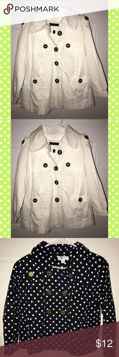 2 Children's Jackets 2 adorable jackets. One white.. One Navy with white polka dots and gold buttons (: Jackets & Coats