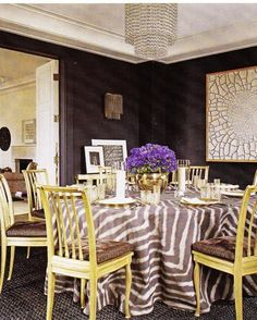 Aerin Lauder dining room Elle Decor by jodie Decor, Home, Dining Room Design, Dining Sconces, Elle Decor, Festive Dining Room, Eclectic Dining Room, Interior Design, House Interior