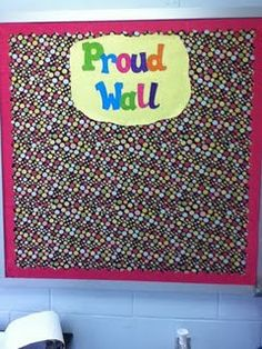 This is a bulletin board where students can put up anything they are proud of, whether it's a picture, drawing or good grades