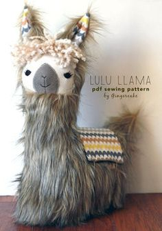 Sewing Pillows LuLu Llama Pillow sewing pattern - Sewing Patterns at Makerist Alpacas, Alpaca Peluche, Llama Pillow, Llama Face, Llama Llama, Sewing Stuffed Animals, Fabric Purses, Sewing Pillows, Baby Pillows