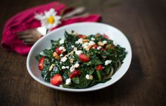 Kale and Strawberry Salad over Bulgur