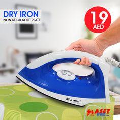 Olympia Non-Stick Sole Plate Dry Iron 1200 Watts, Blue Dubai Uae, Daily Deals, Olympia, Home Appliances, Iron, Plates, House Appliances, Licence Plates, Kitchen Appliances