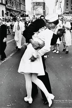 Kissing On VJ Day - Nurse Kissing Sailor, Art Poster Full Size Poster Print, 24x36, $1.64