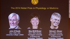 The Nobel Prize in Physiology or Medicine has honored John O'Keefe, May-Britt Moser and Edvard Moser who discovered cells that form a positioning system in the brain -- our hard-wired GPS. Those cells mark our position, navigate where we're going and help us remember it all, so that we can repeat our trips, the Nobel Assembly said in a statement. Their research could also prove useful in Alzheimer's research. October 6, 2014