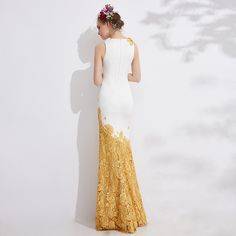 31828 Spring  Sleeves White &Yellow  Leaves   Embroidery  Long Prom  Party  Dress - Coniefox