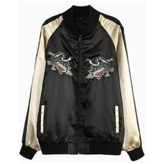 Embroidery Dragon Bomber Jacket (€32) ❤ liked on Polyvore featuring outerwear, jackets, flight jacket, blouson jacket, embroidered jacket, bomber jacket and embroidery jackets
