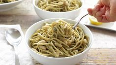 This quick and easy pesto pasta dish takes only about as long to put together as it takes to cook the pasta itself. There's no oil or cheese in this plant-ba...