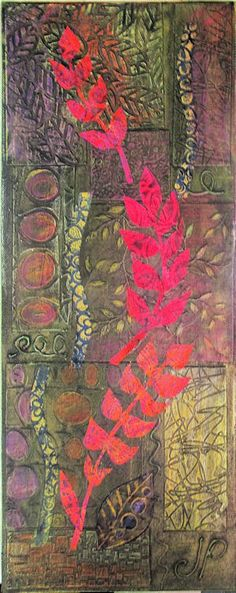 """Stunning results from students in Hilary B's workshop! She wrote: """"'gelliping' - a verb, meaning to play with, paint on, obsess over and generally have a jolly good time with a gelli plate. And that was the essence of the workshop I taught at gorgeous Art van Go last week."""""""