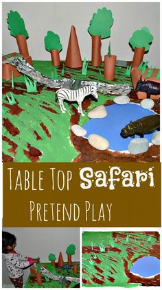 Small world play :: Africa safari from Nurture Store Safari Jungle, Safari Theme, Jungle Theme, Safari Animals, Jungle Party, Wild Animals, Animal Activities, Toddler Activities, Activities For Kids