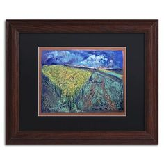 "Trademark Art ""Mustard Field"" by Lowell S.V. Devin Framed Painting Print in Black Mat Size: 11"" H x 14"" W x 0.5"" D"