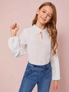 Girls Cut Out Front Guipure Lace Collar Top – Kidenhouse Tween Fashion, Fashion Wear, Fashion Outfits, Collar Top, Lace Collar, Coming Home Outfit Boy, Girls Cuts, Girls Dresses Online, Justice Clothing
