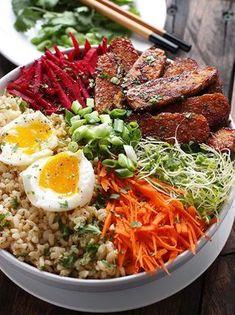 Tempeh met rijst en groenten (vooral marinade voor tempeh)