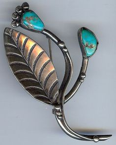 LARGE VINTAGE NAVAJO INDIAN STERLING SILVER TURQUOISE FLOWER BRANCH PIN