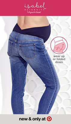 Isabel Maternity created the Crossover Panel®, perfect for every stage of pregnancy and after, designed to provide comfortable, supportive jeans and pants to pregnant moms. The innovative panel has 4-way stretch fabric and a contoured, crossover low-back design that provides gentle back support and eliminates extra fabric to keep Mom cooler. It can be worn over or under the belly for a personalized fit. And, finding the right size is easy. Just use your pre-pregnancy size. New & only at…
