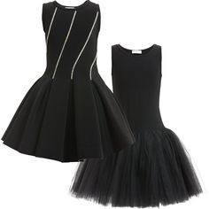 Monnalisa Chic - Black Neoprene Dress with Diamanté | Childrensalon