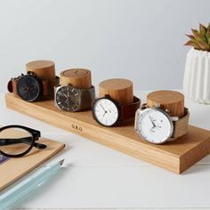 Watch Stand for Four Watches / Personalised Watch Storage / Gift for Him / Watch Holder / Personalized Watch Display / Watch gift for Dads - A contemporary and beautifully hand crafted solid oak four column watch stand, designed to display a - Diy Wood Projects, Wood Crafts, Woodworking Projects, Personalized Watch Box, Watch Holder, Birthday Gift For Him, 40th Birthday, Watch Display, Solid Oak
