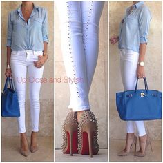 upcloseandstylish Foreve r21 shirt, JBrand cut out jeans, Louboutin 'Pigalle' spikes 120mm and Hermès Birkin35 in Mykonos