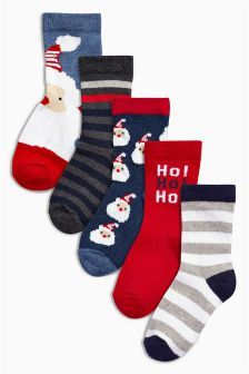 Five Pack Christmas Red And Navy Novelty Socks (Younger Boys)