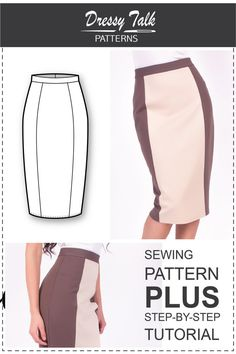 Skirt Patterns Sewing Tutorials Pencil by DressyTalkPatterns                                                                                                                                                     Mais