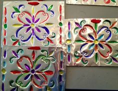 Kids craft!  An elementary class takes on metal embossing!