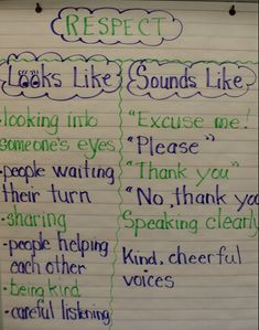 Teaching respect lesson idea:)